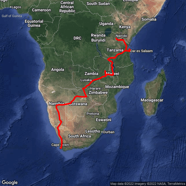 Map of Cape Town to Cairo - Nile Expedition